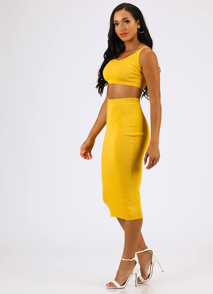 Fashion Influencer Knit Two-Piece Dress MUSTARD