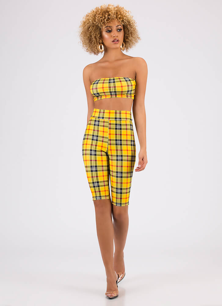 Mad For Plaid Top And Shorts Set YELLOW