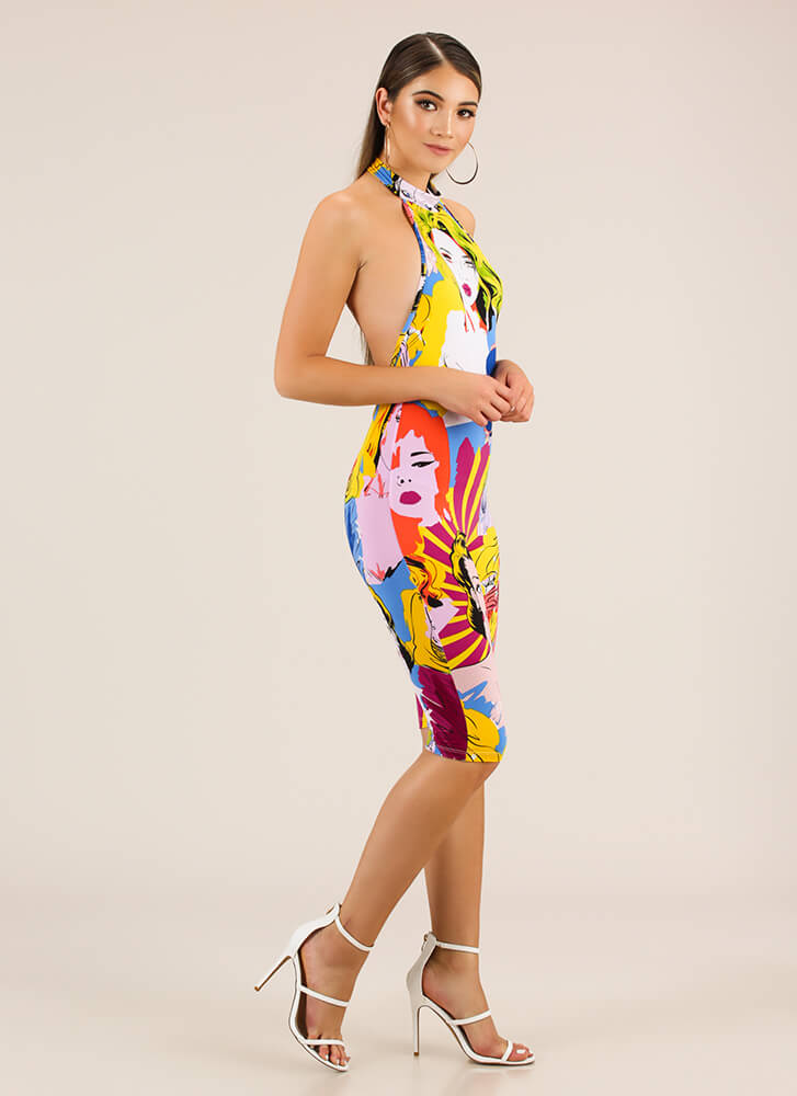 Faces In The Crowd Halter Jumpsuit MULTI