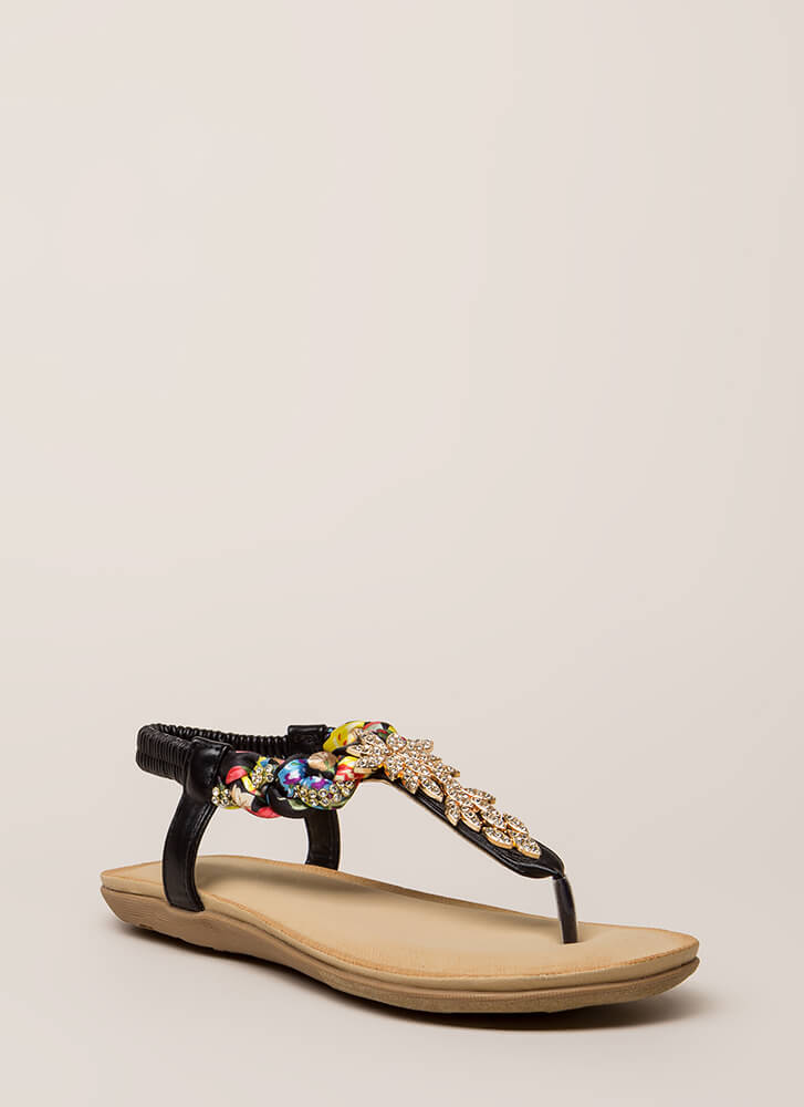 Fine Florals Jeweled T-Strap Sandals BLACK (You Saved $14)