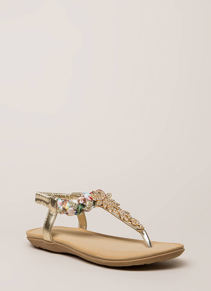 Fine Florals Jeweled T-Strap Sandals GOLD