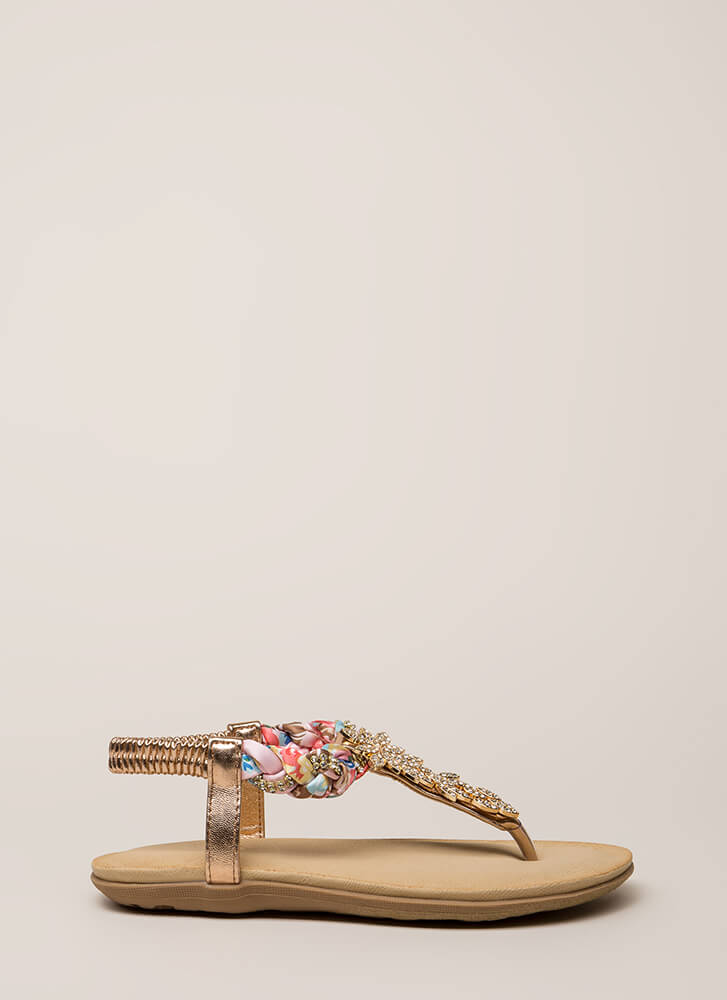 Fine Florals Jeweled T-Strap Sandals ROSEGOLD (You Saved $14)