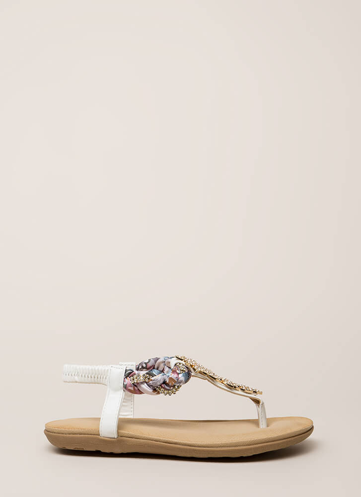 Fine Florals Jeweled T-Strap Sandals WHITE (You Saved $14)