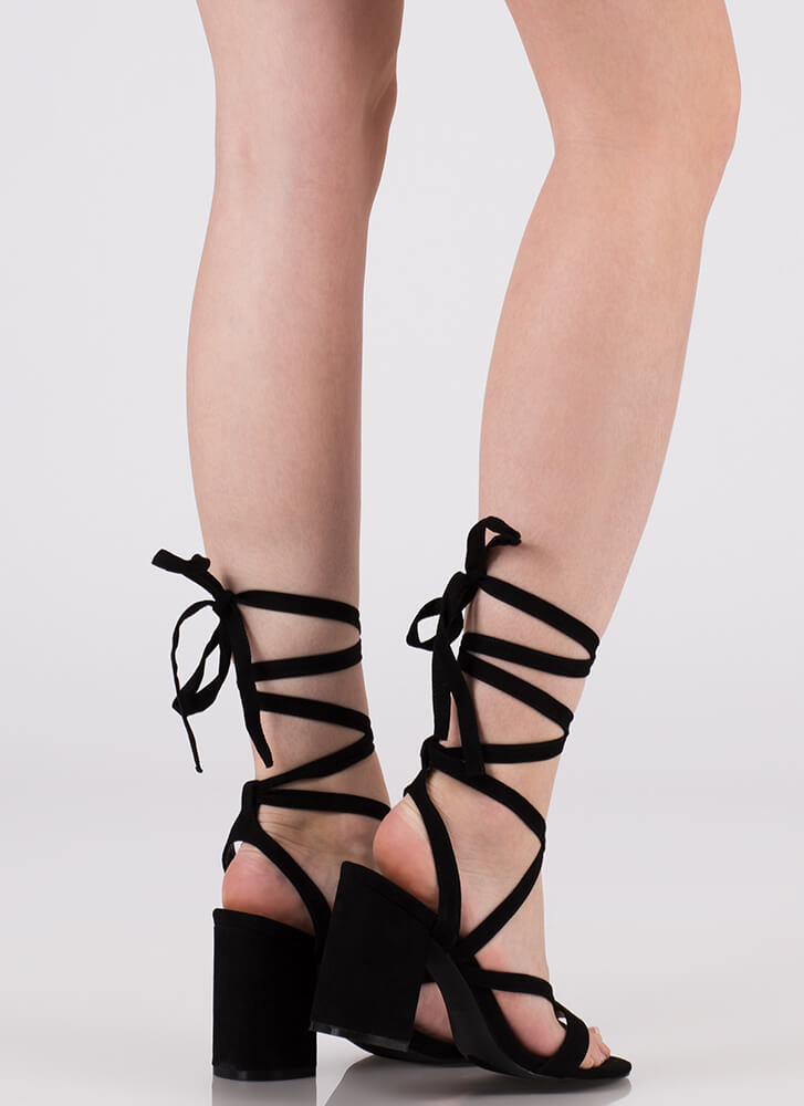 Accentuate Strappy Lace-Up Block Heels BLACK