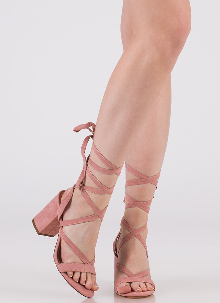 Accentuate Strappy Lace-Up Block Heels DUSTYPINK (You Saved $20)