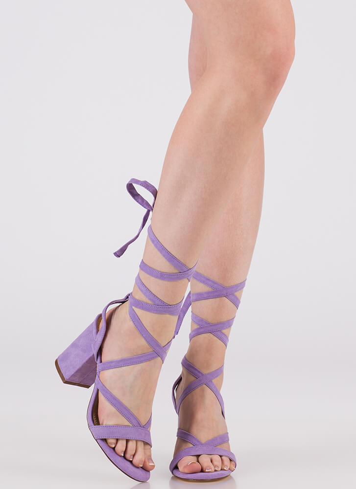 Accentuate Strappy Lace-Up Block Heels LILAC (You Saved $20)