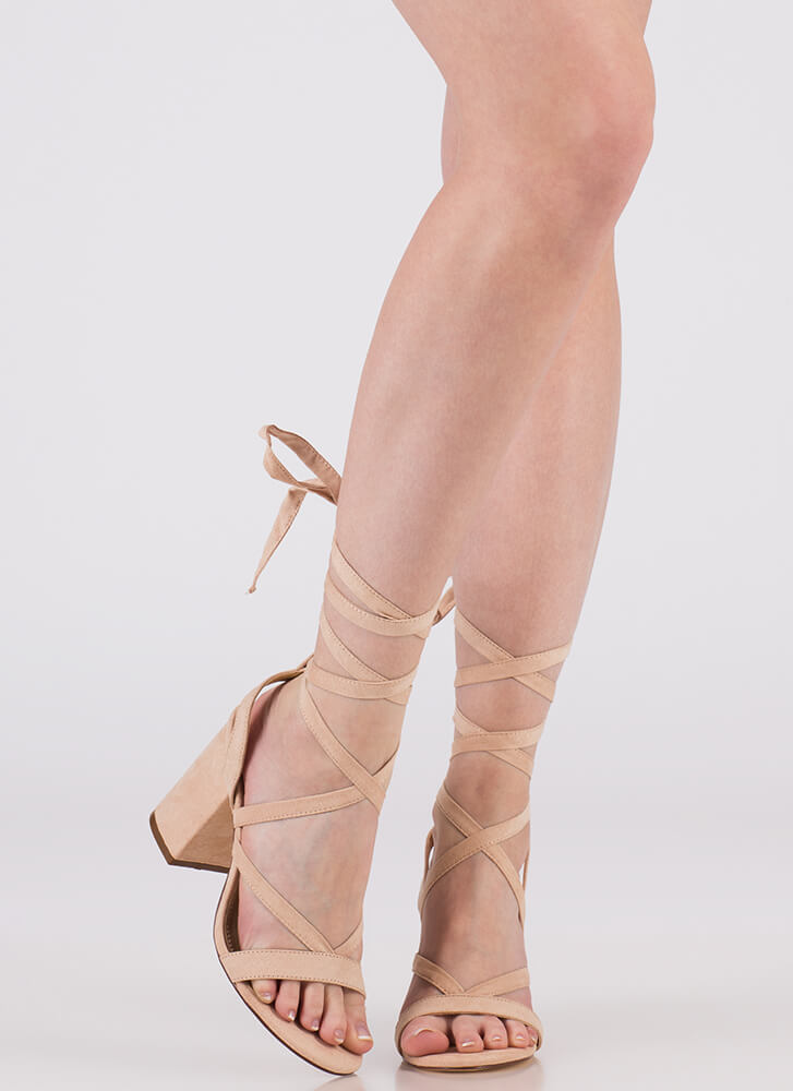 Accentuate Strappy Lace-Up Block Heels NUDE (You Saved $20)