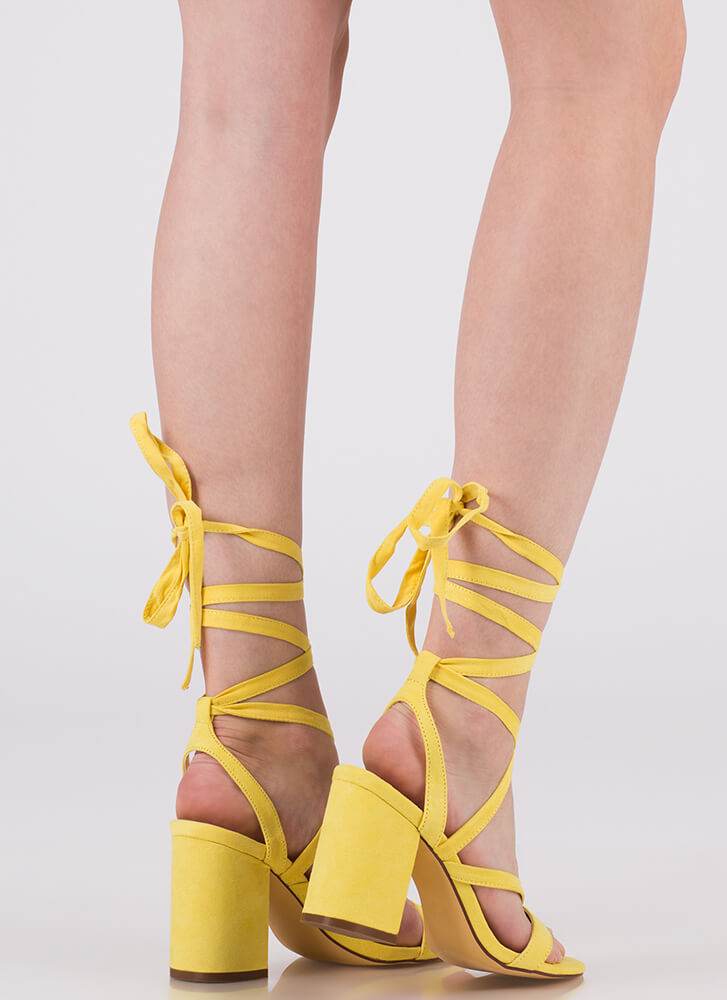 Accentuate Strappy Lace-Up Block Heels YELLOW (You Saved $20)