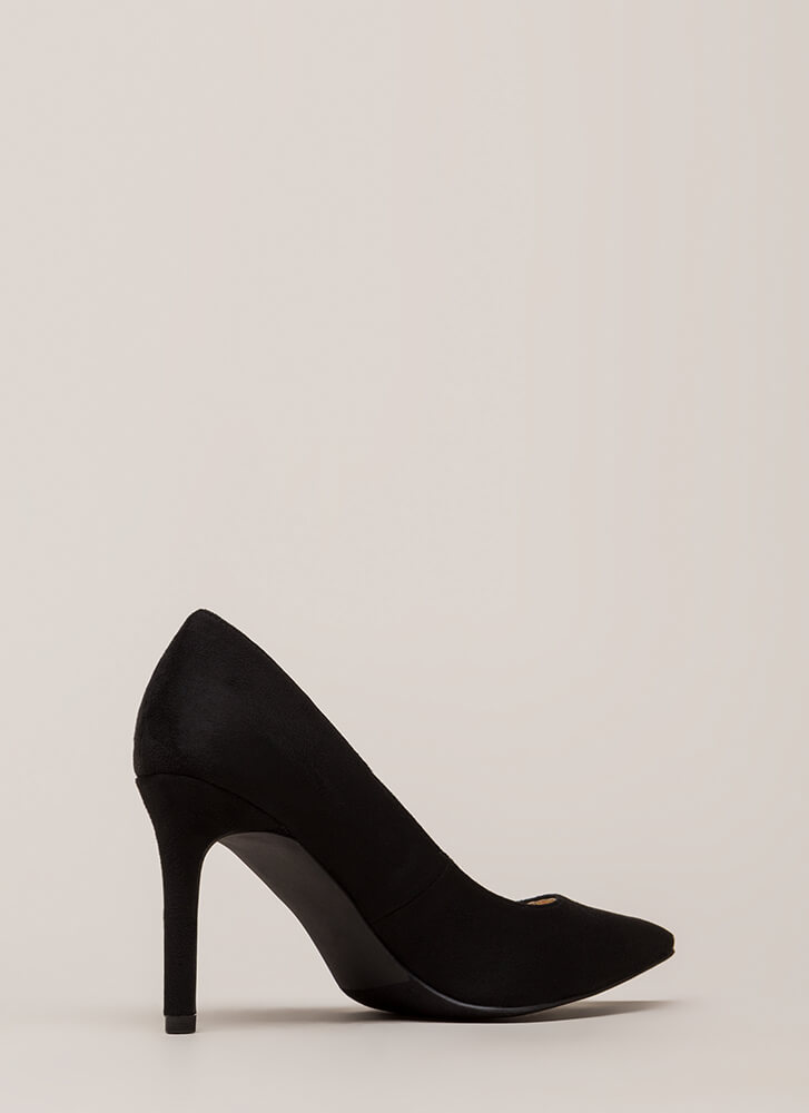 Simple Task Pointy Faux Suede Pumps BLACK