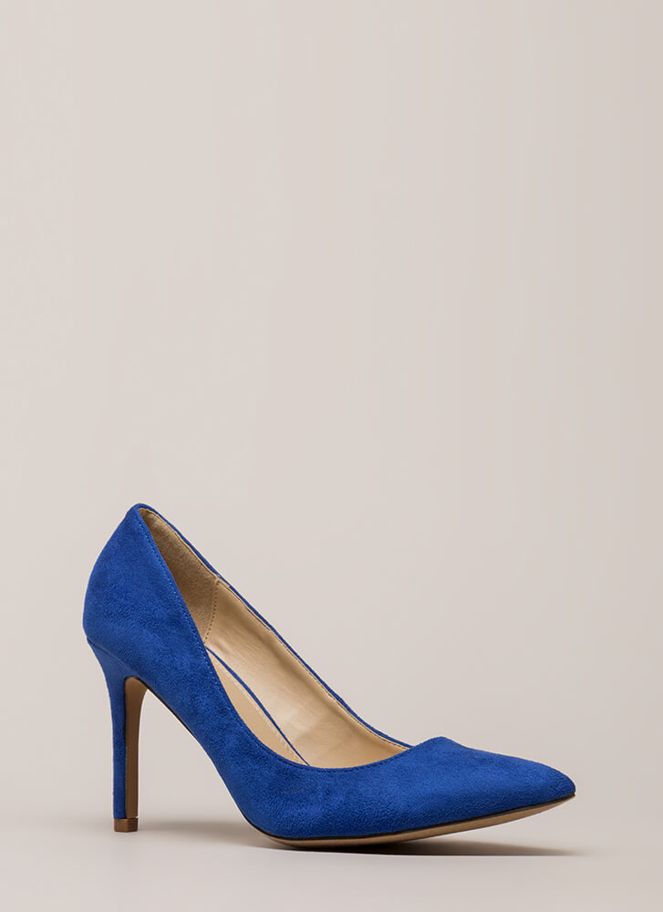 Simple Task Pointy Faux Suede Pumps BLUE