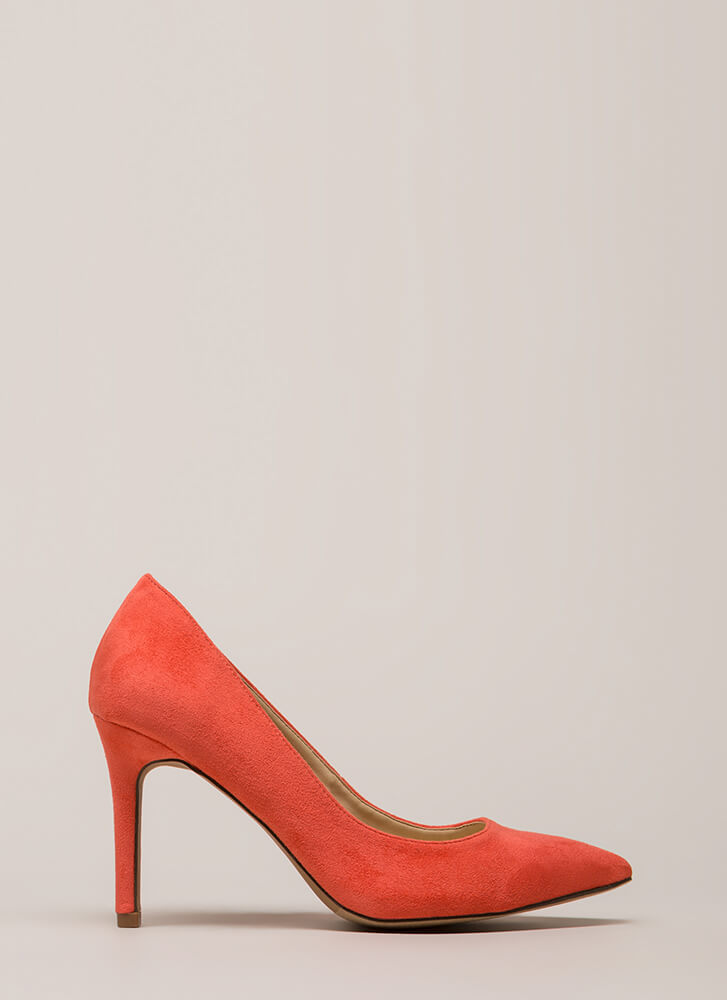 Simple Task Pointy Faux Suede Pumps CORAL