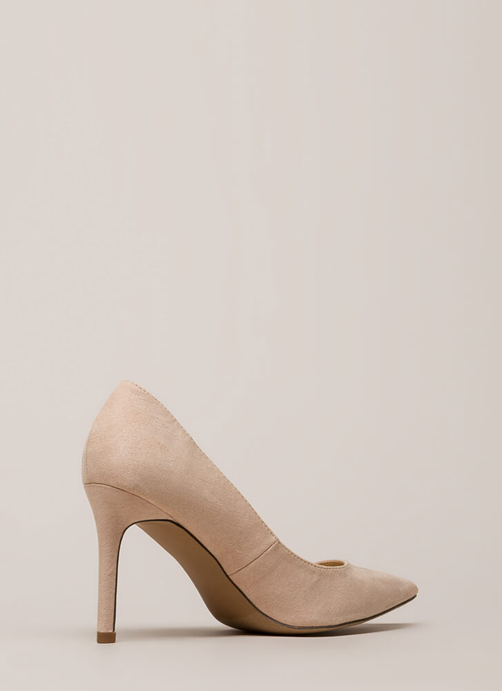 Simple Task Pointy Faux Suede Pumps NUDE
