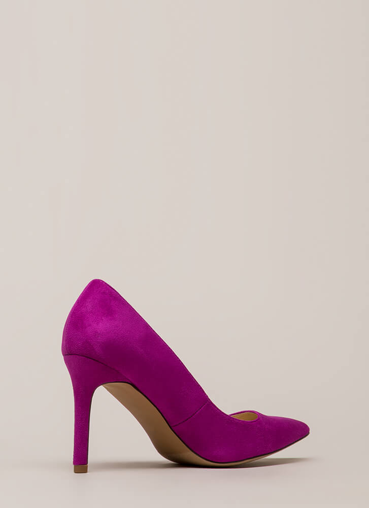 Simple Task Pointy Faux Suede Pumps PURPLE