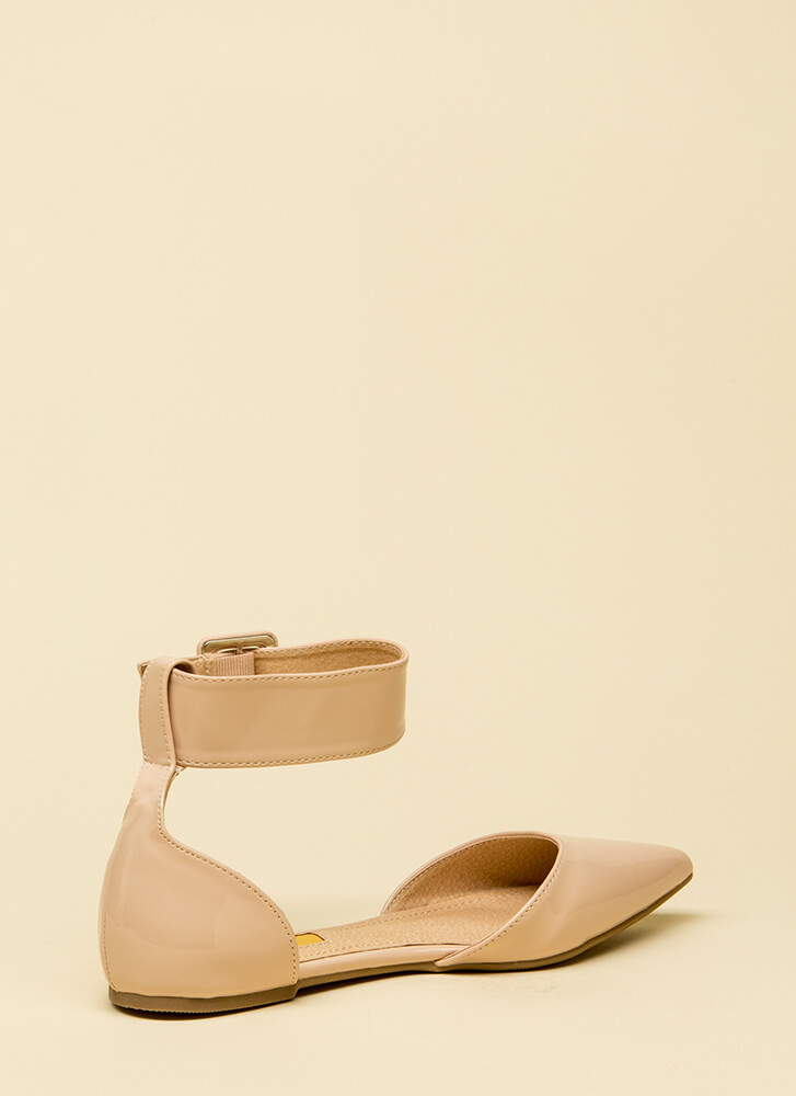 Good Point Faux Patent Ankle Strap Flats NUDE