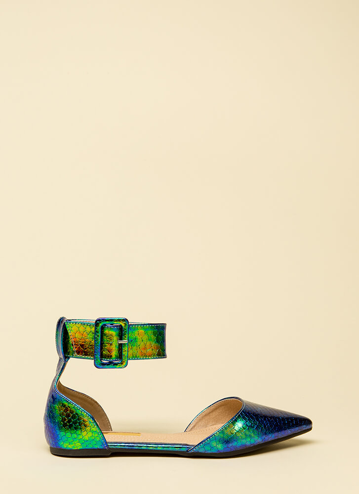 Good Point Holographic Ankle Strap Flats GREEN