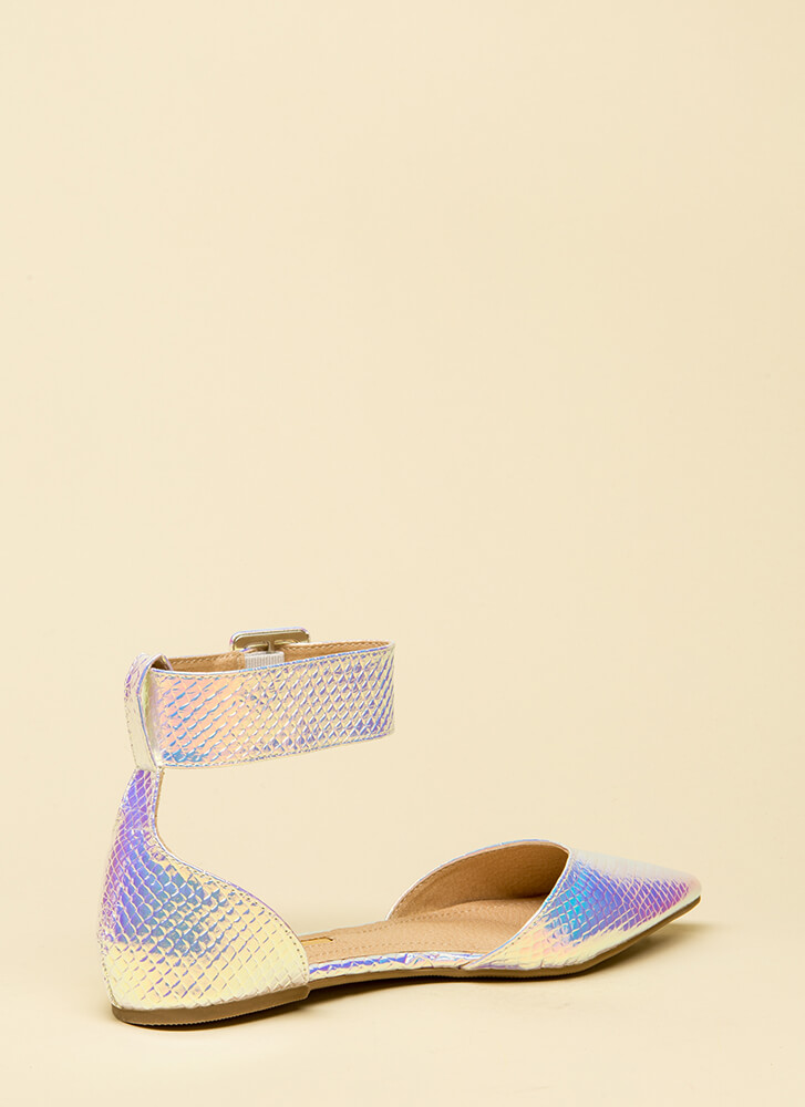 Good Point Holographic Ankle Strap Flats PINK