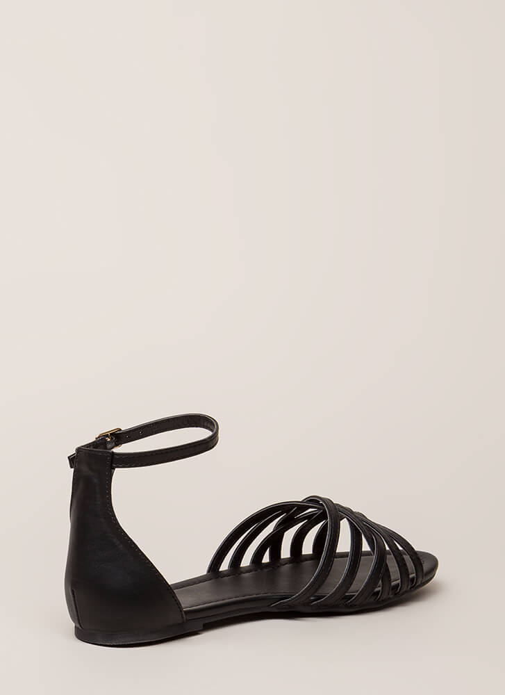 Strappy To Be Alive Ankle Strap Sandals BLACK