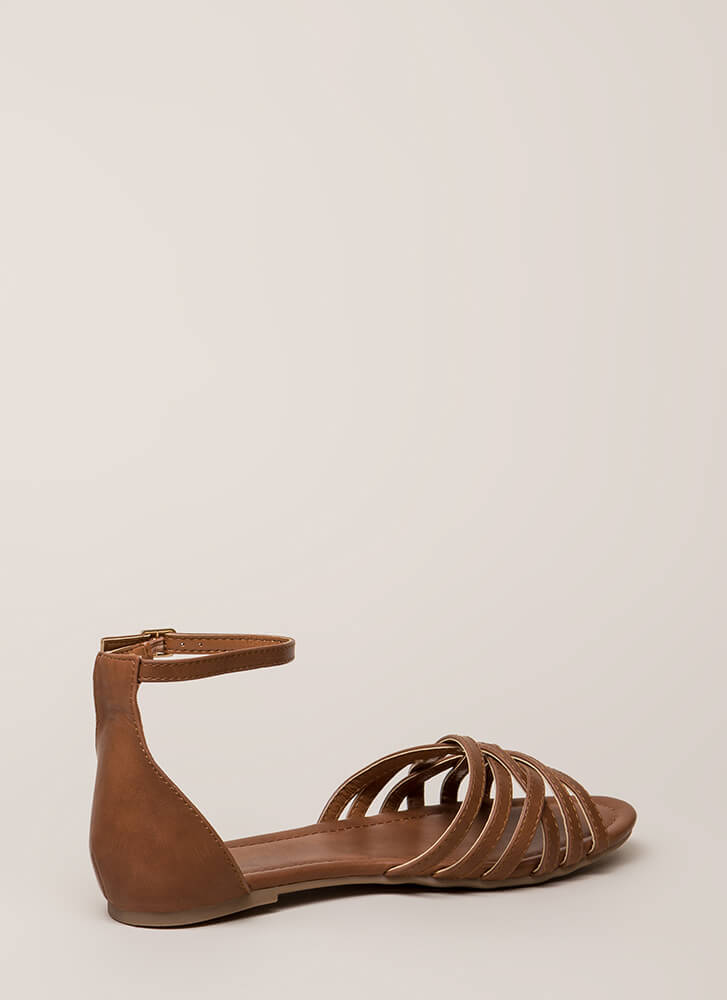 Strappy To Be Alive Ankle Strap Sandals COGNAC