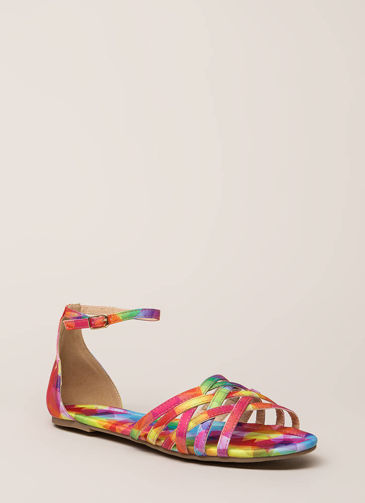 Strappy To Be Alive Ankle Strap Sandals MULTI