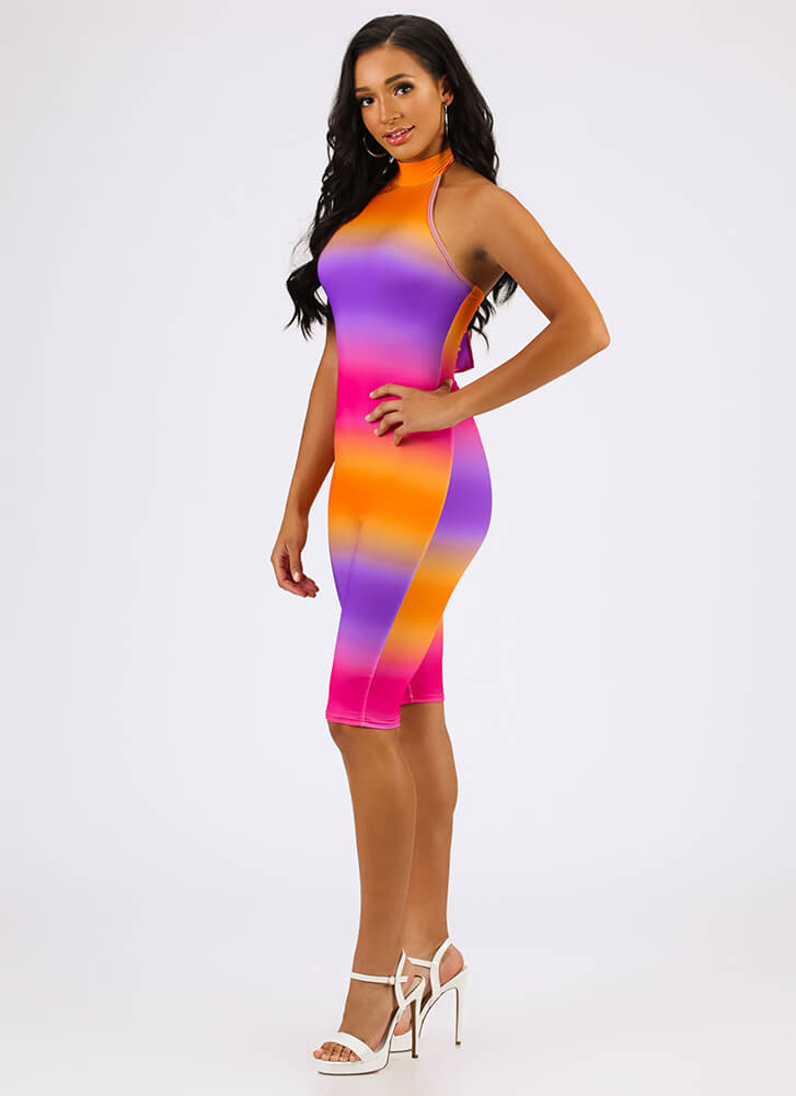 Blended Perfectly Ombre Halter Romper PINKMULTI