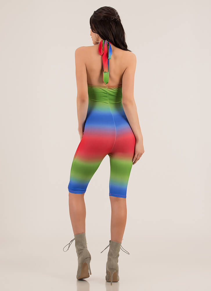 Blended Perfectly Ombre Halter Romper REDMULTI