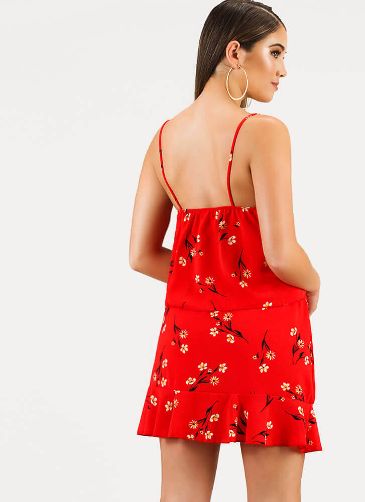 Daisy For You Floral Top And Skirt Set RED