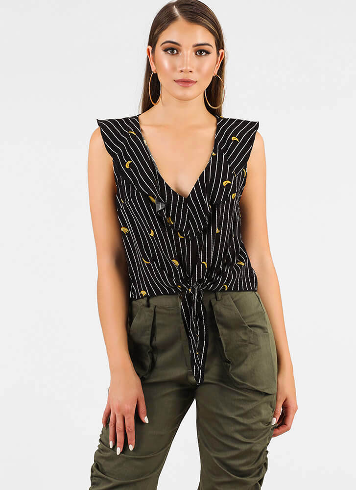 Going Bananas Striped Tie-Front Top BLACK