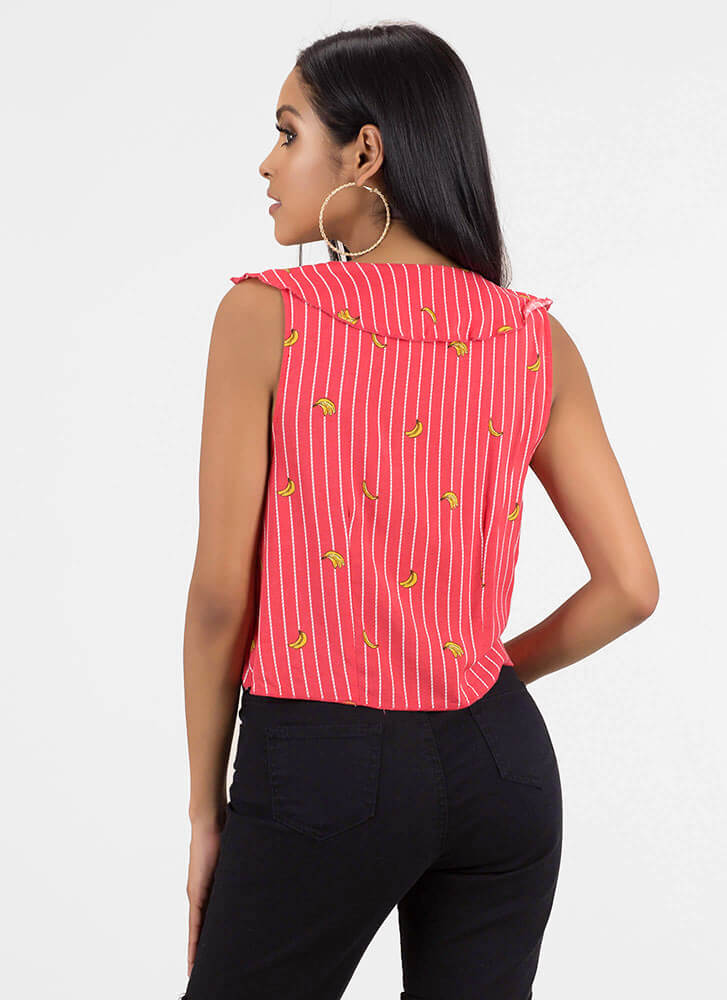 Going Bananas Striped Tie-Front Top RED