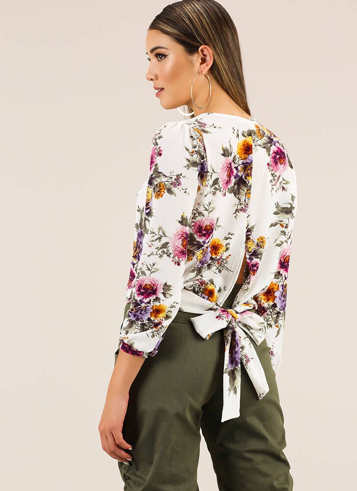 Growing Garden Floral Tie-Back Blouse WHITEMULTI