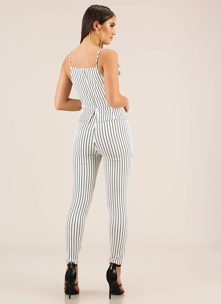 My Business Pinstriped Peplum Jumpsuit BLACKWHITE (You Saved $30)