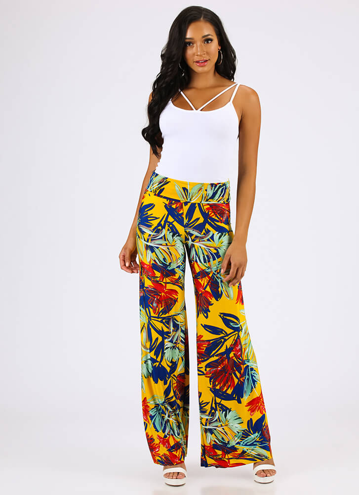 Time To Leaf Tropical Palazzo Pants YELLOW