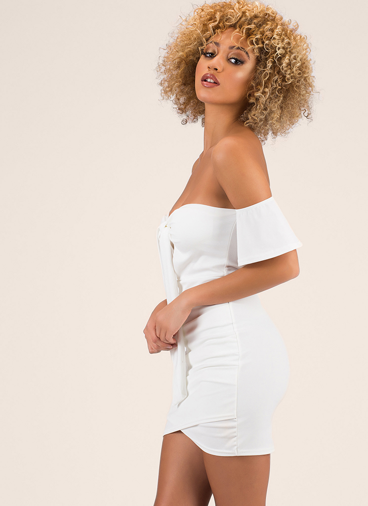 Big Date Tied Off-Shoulder Minidress OFFWHITE