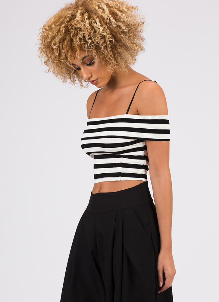 So Chic Striped Cold-Shoulder Crop Top BLACKWHITE