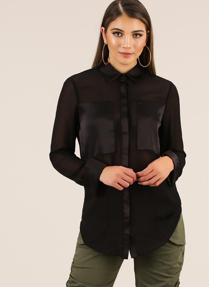 Sheer Why Not Satin Trim Blouse BLACK