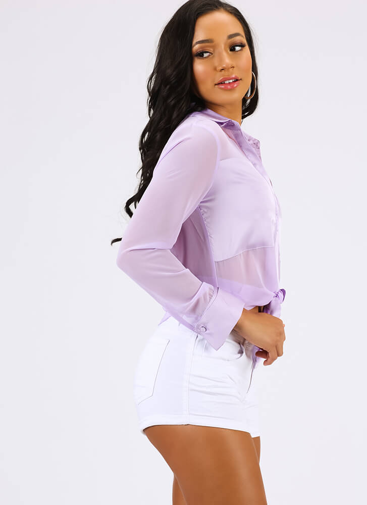 Sheer Why Not Satin Trim Blouse LILAC
