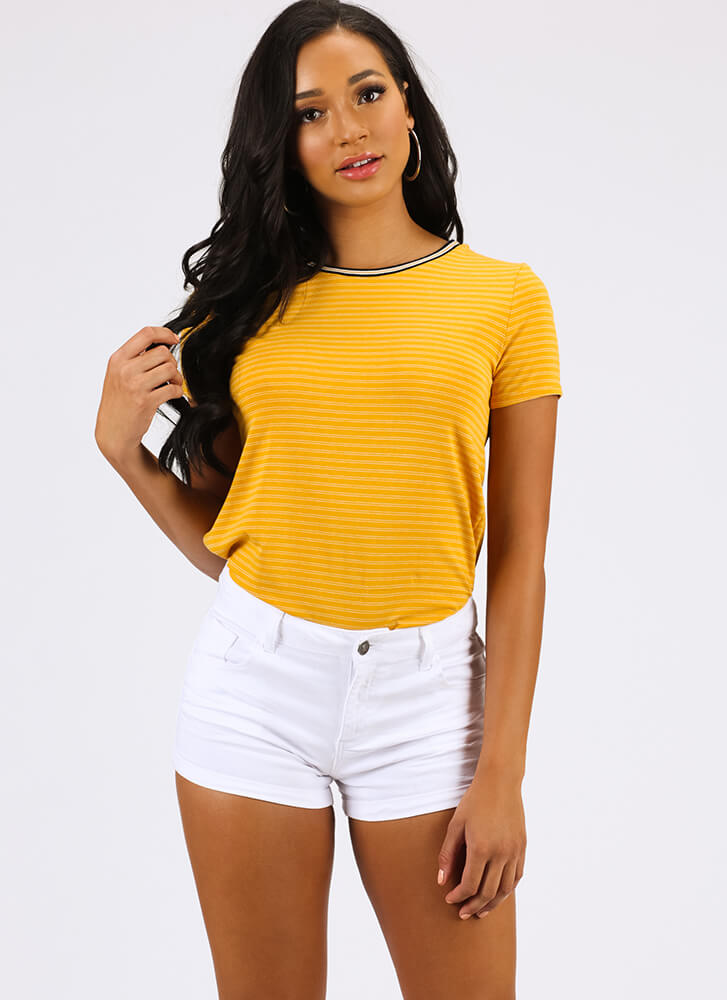 Just Can't Get Enough Striped Top MUSTARD