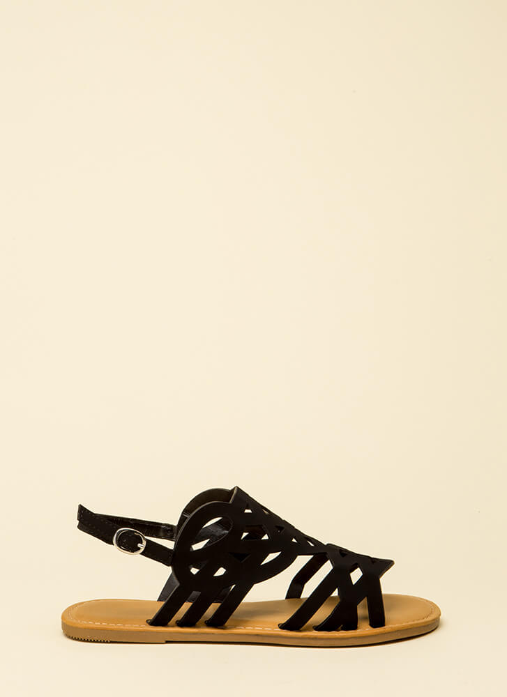Feet First Cut-Out Caged Sandals BLACK