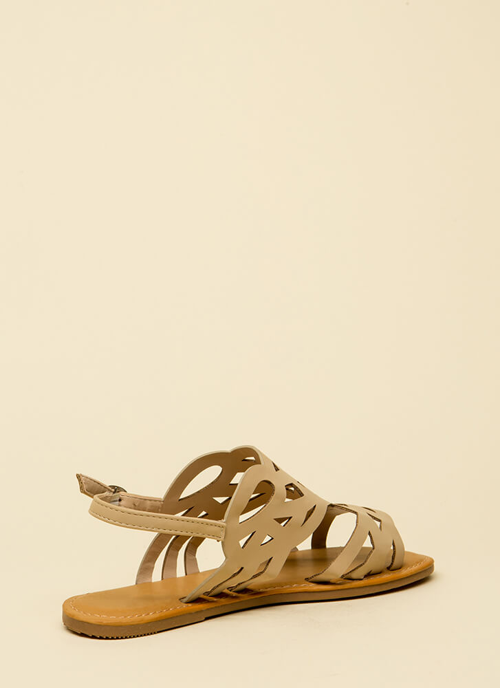 Feet First Cut-Out Caged Sandals NUDE