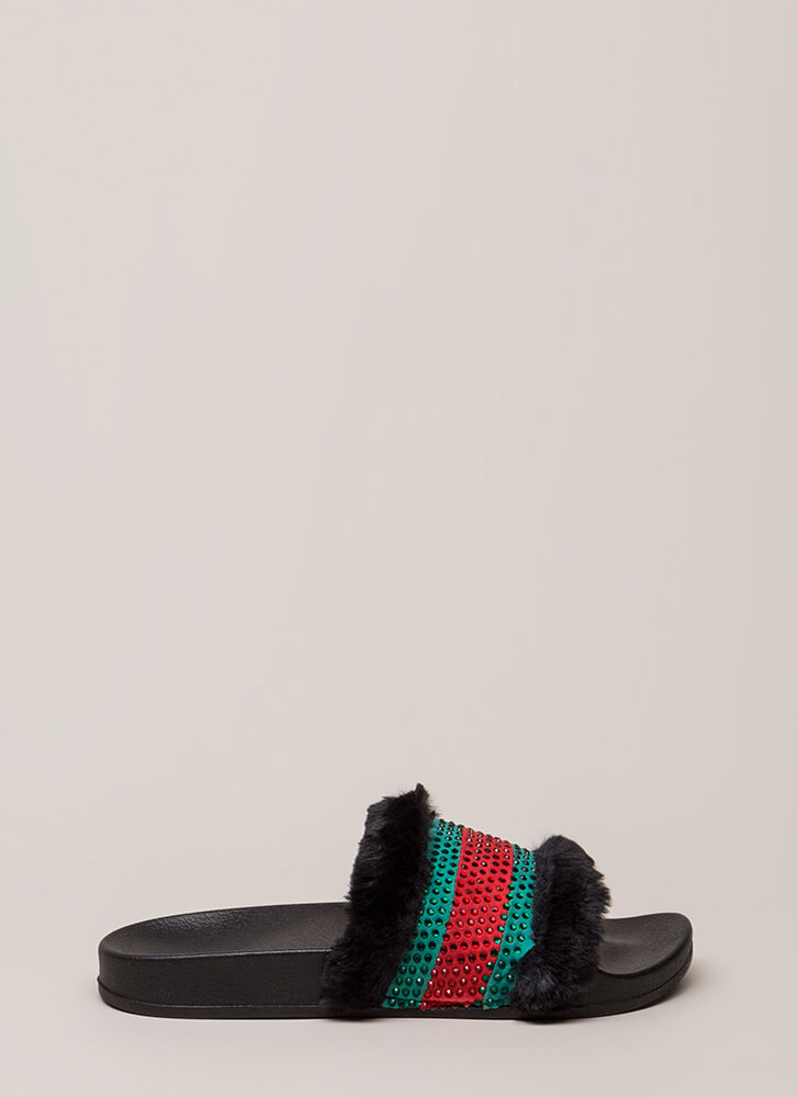 Fur Good Jeweled Striped Slide Sandals BLACK