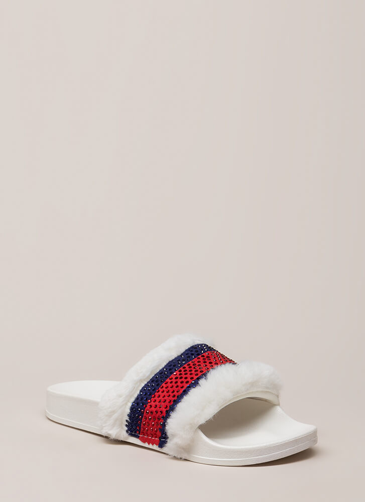 Fur Good Jeweled Striped Slide Sandals WHITE