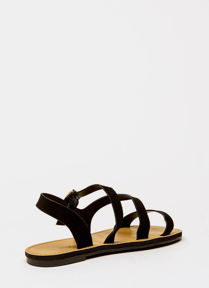 It's Fate Strappy Faux Suede Sandals BLACK
