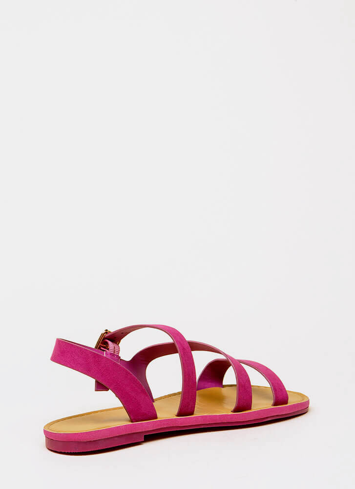 It's Fate Strappy Faux Suede Sandals FUCHSIA