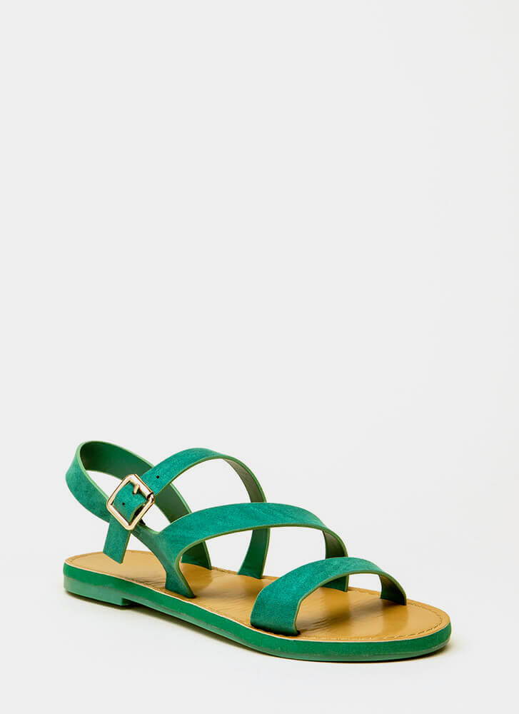 It's Fate Strappy Faux Suede Sandals GREEN