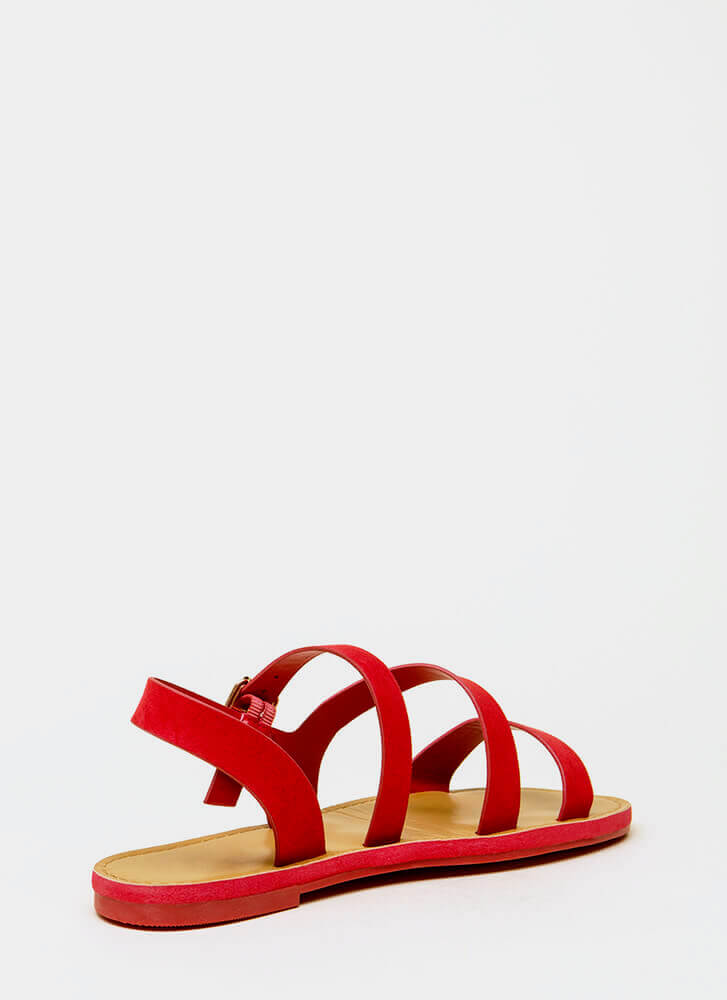 It's Fate Strappy Faux Suede Sandals RED