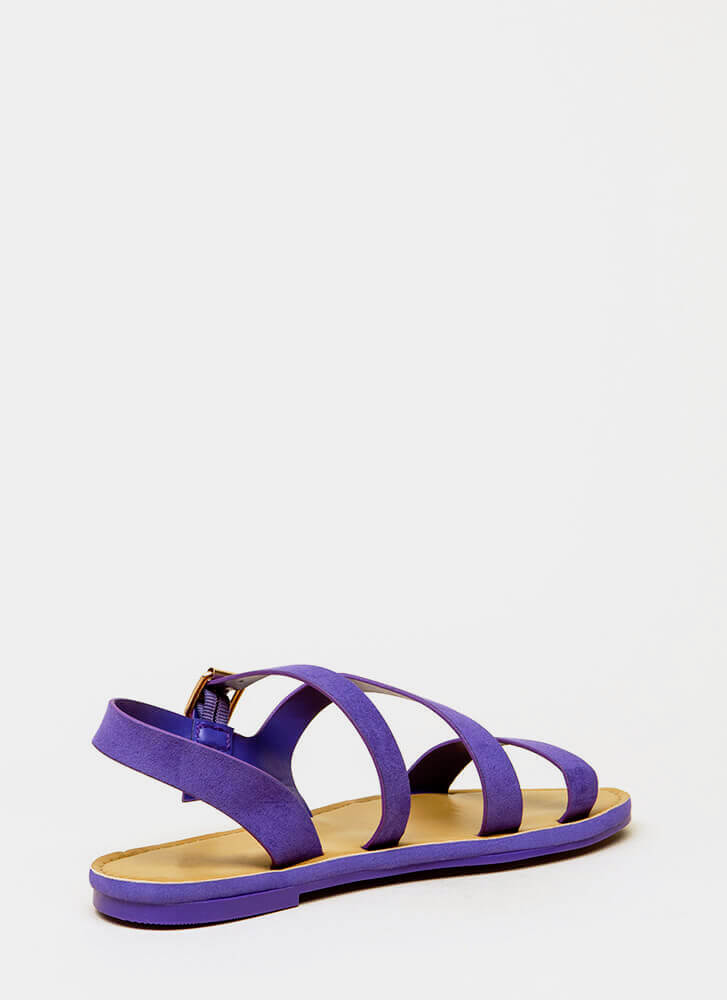 It's Fate Strappy Faux Suede Sandals ULTRAVIOLET