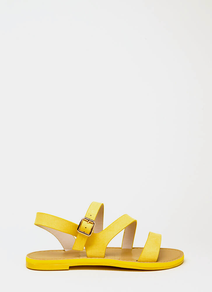 It's Fate Strappy Faux Suede Sandals YELLOW