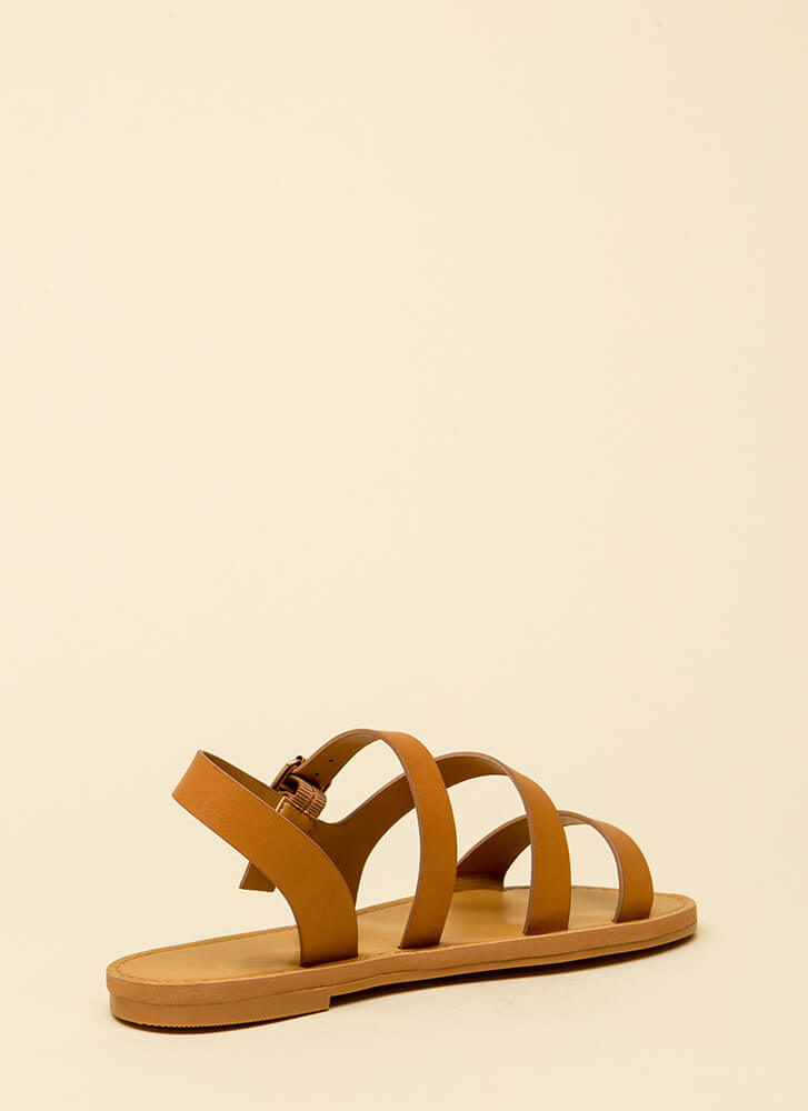 It's Fate Strappy Faux Leather Sandals TAN