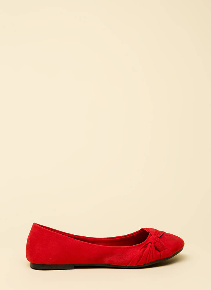 Knotty List Faux Suede Ballet Flats RED (Final Sale)