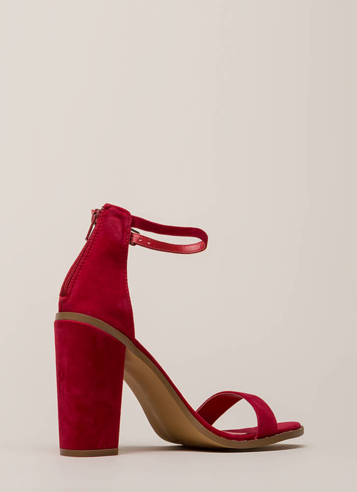 Subtle Style Chunky Studded Heels RED