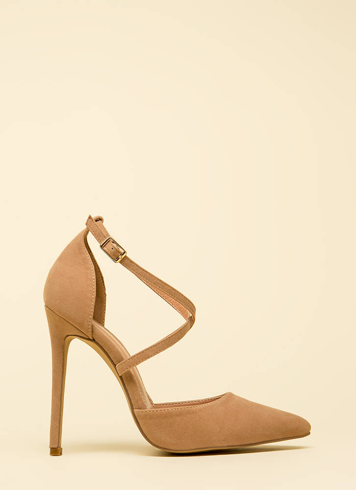 Say Hi To My X Pointy Strappy Heels TAUPE